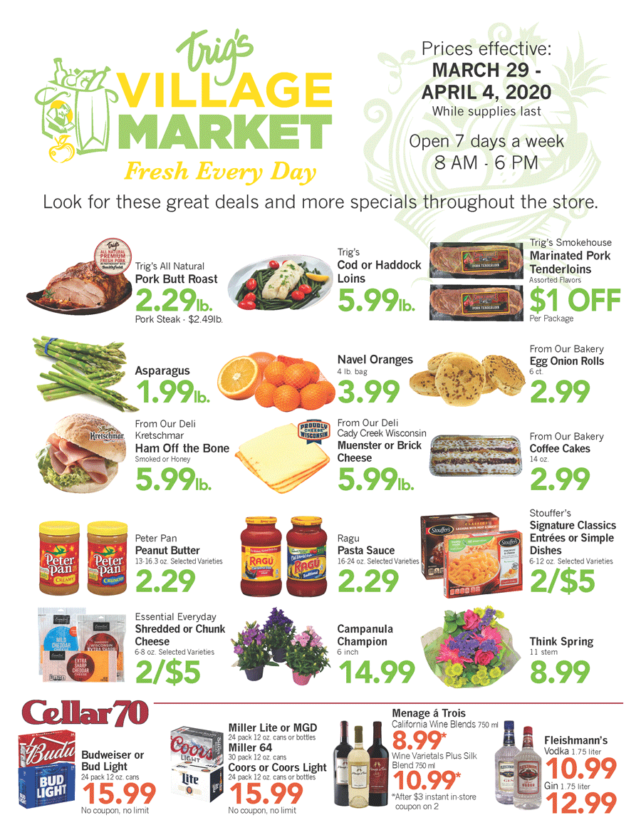 Trig's Village Market Weekly Ad March 29, 2020, click to download a PDF.