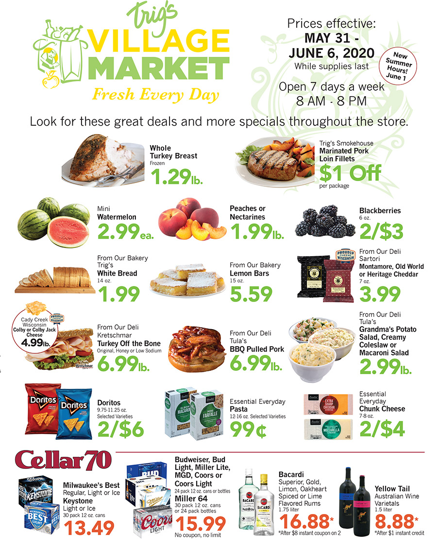 image of the Trigs Village Market Weekly ad 5-31-2020; click this image to download a pdf of the ad.